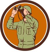 World War One American Soldier Binoculars Retro Circle - stock illustration