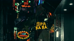 Colorful lights in Saigon Stock Footage