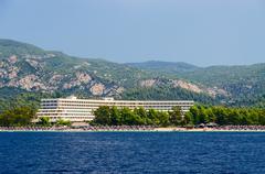 Greece, Sithonia, Porto Carras hotel complex, view from the sea Stock Photos