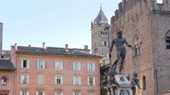 Neptune fountain bologna maggiore square 4k Stock Footage