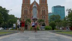 Notre Dame Cathedral In Ho Chi Minh City Stock Footage