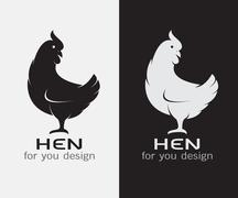 Vector image of an hen on white background and black background - stock illustration