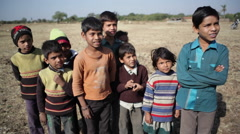 A group of children kids in India village, medium shot, shallow DOF Stock Footage