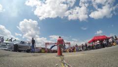 4K timelapse of motorsports, drag race challenge cars Stock Footage