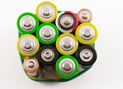 Closeup of Multicolored Batteries Stock Photos