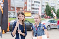 Stock Photo of Russian Girls at a NOD Political Meeting in Ufa