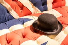 Union Jack Flag English Sofa and Bowler Hat Stock Photos