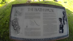 Roman Bath House sign at Lydney 01 Stock Footage