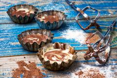process of making coffee cupcakes - stock photo
