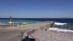 Beautiful Aegean sea coast and storm waves, Rhodes, Greece Stock Footage