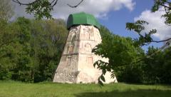 Old windmill ruins in  park Stock Footage