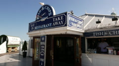 Fish and Chips restaurant at Brighton Beach - stock footage
