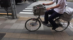 Biking On The Sidewalk In Tokyo Japan Stock Footage