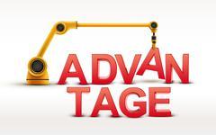 Industrial robotic arm building ADVANTAGE Stock Illustration