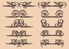 Vintage Calligraphic decorative motifs design elements - stock illustration