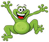 Stock Illustration of jumping cartoon frog isolated on white