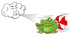 Cartoon cloud blowing wind on a frog with umbrella Stock Illustration