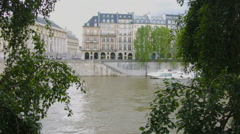 River Seine Among Trees Stock Footage