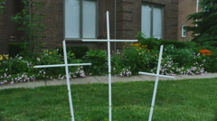White crosses in yard cross Stock Footage