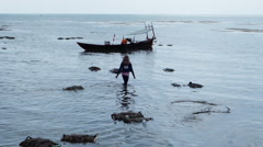People catching and fishing crabs at the market in Kep, Cambodia Stock Footage