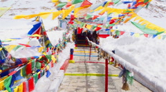 Entrance to Temple at Changla Pass Stock Footage