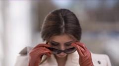 Beautiful Girl in Sunglasses - stock footage