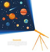 Telescope solar system concept poster Piirros