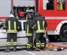 Firefighters during a practice session in the fire station Kuvituskuvat