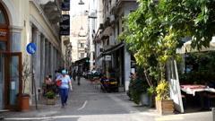 Quiet street scene. Old Athens Stock Footage