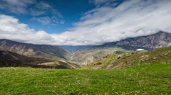 Time lapse. The formation of clouds over alpine meadows. - stock footage