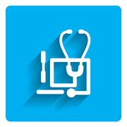 Stethoscope and tongue depressors icon - stock illustration