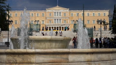 The Greek Parliament from Syntagma Square Stock Footage