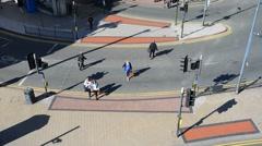 Time lapse people using pedestrian crossing leeds united kingdom Stock Footage
