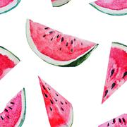 Watercolor watermelon melon pattern Stock Illustration