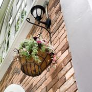 flower pot hanging and lamp - stock photo