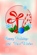 happy holidays and best wishes - stock illustration