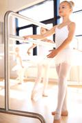 Graceful young girl practicing her ballet Stock Photos
