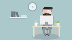 Cartoon businessman sittingin his office working at his computer. Stock Footage