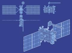 hi-detailed glonass satellite - stock illustration