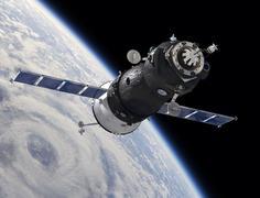 Spaceship on the orbit Stock Illustration