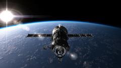 Spaceship on the orbit - stock illustration
