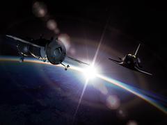 Spaceships on the orbit - stock illustration