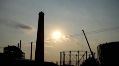 Industrial sunset. Athens Stock Footage