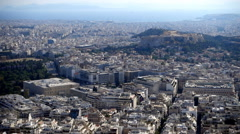 The city of Athens and Parthenon from above Stock Footage
