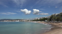 Cannes beaches of plages de la Croisette, panoramic view, France Stock Footage