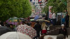 People with Umbrellas Walk Under the Rain 7 - stock footage