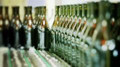 0492 Industrial line for bottling sparkling wine Stock Footage