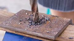 Drilling holes in a metal workpiece Stock Footage