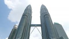 High angle view to Petronas Twins, from ground level Stock Footage