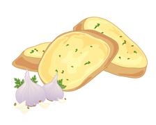 garlic bread - stock illustration